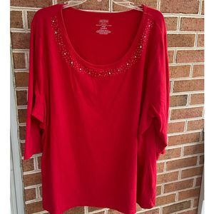Lane Bryant Red Top Cotton Knit 26 - 28W Hat Bling
